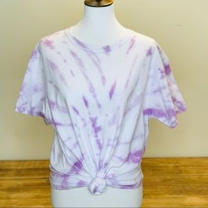Tie Dye Tee With Front Knot Cotton White Purple